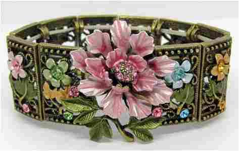 VINTAGE FLOWER PANEL STRETCHY BRACELET
