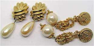 2 CHUNKY STATEMENT, GOLDTONED EARRINGS!