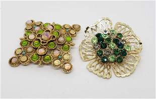 2-VINTAGE GOLD TONED BROOCHES: (1)FLOWER