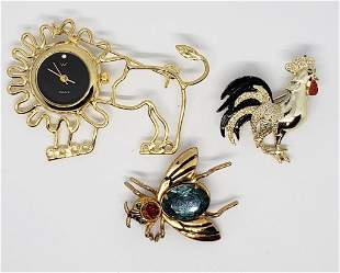 3-VIINTAGE GOLD TONED ANIMAL BROOCHES