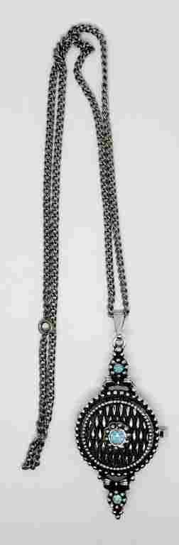 VINTAGE SILVER TONED NECKLACE WITH LOCKET
