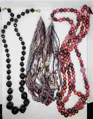 3-VINTAGE BEADED NECKLACES: (1)MULTI