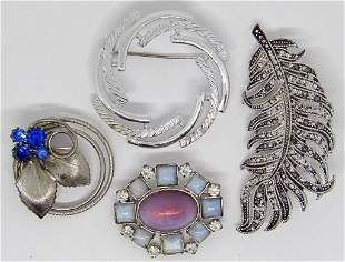 4-VINTAGE SILVER TONED BROOCHES: (1)MARCASITE