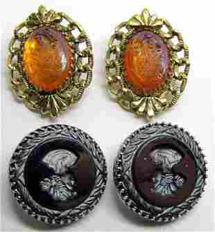 2-PAIRS OF VTG CAMEO CLIP ON EARRINGS