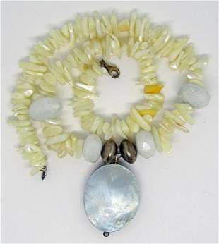 VINTAGE PUKA SHELL NECKLACE WITH POLISHED