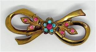 VINTAGE CORO GOLD TONED BOW BROOCH