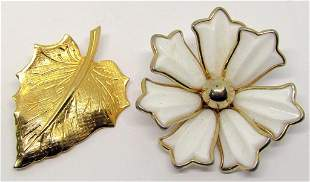 2-VITNAGE GOLD TONED BROOCHES: (1)CORO FLOWER