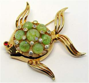 VTG MAZER BROS GOLD TONED FISH BROOCH WITH