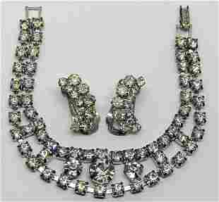 VINTAGE SILVER TONED DOUBLE STRANDED RHINESTONE