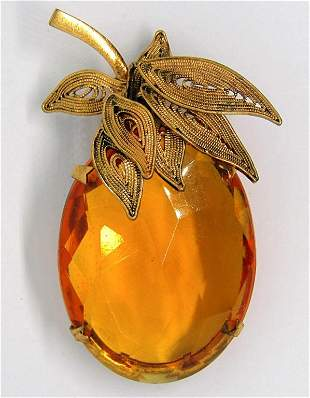 VINTAGE MADE IN AUSTRIA GOLD TONED BROOCH