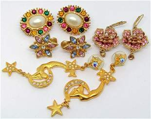 4-PAIRS OF GOLD TONED EARRINGS: (1)STAR & MOON