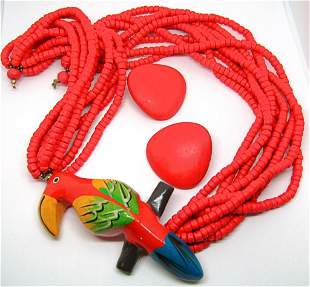 SET! MULTI STRANDED RED WOODEN BEADED NECKLACE