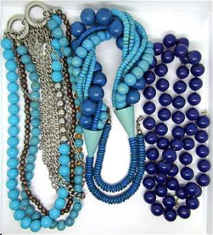 3-VINTAGE BLUE BEADED CHUNKY NECKLACES
