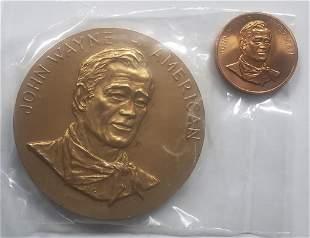 3 INCH JOHN WAYNE BRONZE MEDAL & (1)TRIBUTE COIN