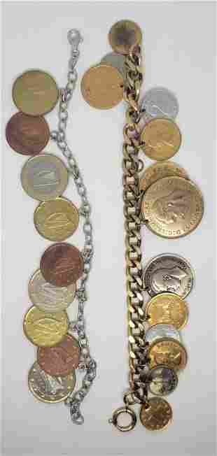 (2) FOREIGN COIN BRACELETS