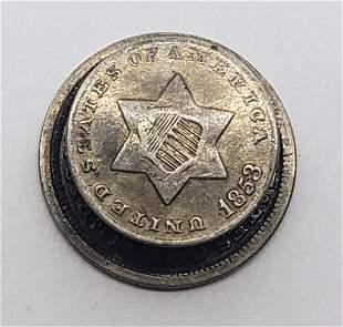 SILVER COIN CUFF LINK- THREE CENT PIECE