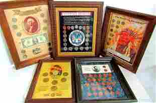 (5) FRAMED U.S. COIN SETS: KENNEDY COLLECTION,