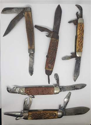 (5) VINTAGE UTILITY KNIVES - KUTMASTER