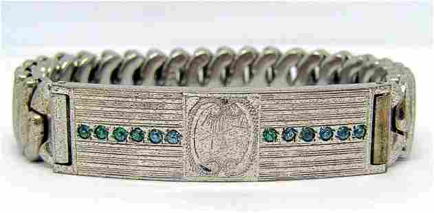 STERLING STRETCHY BRACELET WITH TEAL STONE
