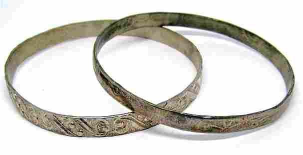 2-STERLING BANGLES WITH ENGRAVED DESIGNS