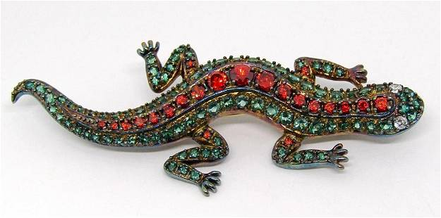 VINTAGE STERLING LIZARD BROOCH WITH RED AND