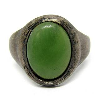 MEN'S STERLING RING WITH GREEN CENTER STONE