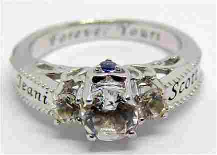 SIZE 9 STERLING RING WITH CZ STONES