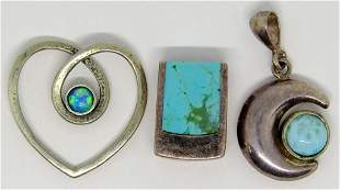 3-STERLING PENDANTS (1)WITH TURQUOISE INLAY