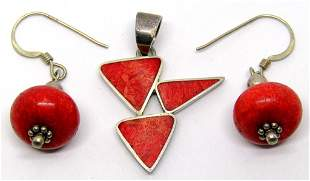 STERLING SOUTHWESTERN PENDANT WITH RED