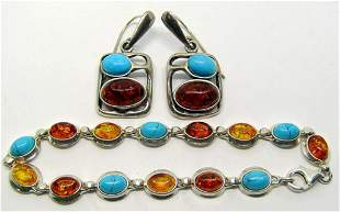 BALTIC AMBER AND TURQUOISE 925 JEWELRY LOT: