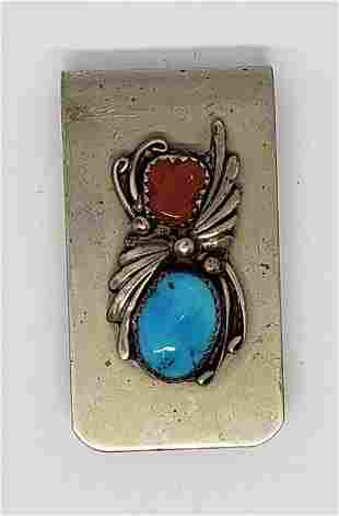 NAVAJO STERLING MONEY CLIP WITH RED CORAL