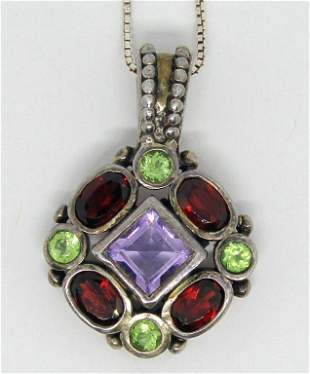 STERLING PENDANT WITH GREEN-LAVENDER AND RED