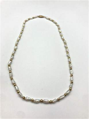14K RICE PEARL NECKLACE W GOLD BEADS