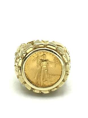 14K GOLD RING W 1/10 EAGLE SIZE 9.5