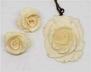 CARVED BAKELITE ROSE PENDANT WITH MATCHING