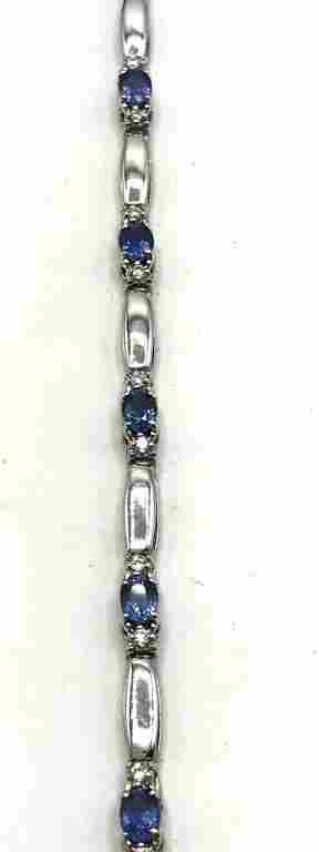14K GOLD BRACELET W DIAMONDS/LIGHT BLUE