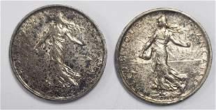 1960 & 1964 5 francs SILVER FRANCE COINS