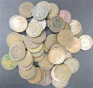 50-INDIAN HEAD CENTS - MIXED