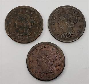 1851, 1852, 1854 LARGE CENTS