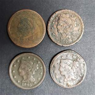 (4) LARGE CENTS: 1845, 1845, 1847, 1856