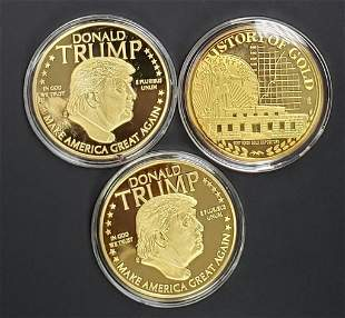(3) GOLD TONED PROOF ROUND COMMEMS