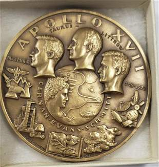 Vintage Apollo XVII Bronze Medal - Medallic Art Co