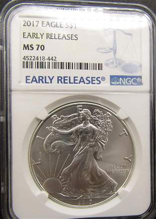 2017 Silver Eagle NGC MS70 Early Releases