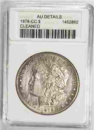1878-CC MORGAN DOLLAR ANACS AU DETAILS