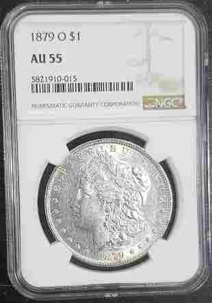 1879-O Morgan Silver Dollar $1 NGC AU55