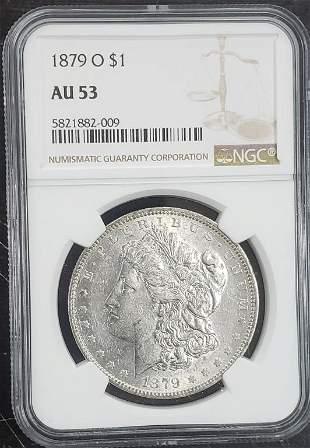 1879-O $1 Morgan Silver Dollar NGC AU53