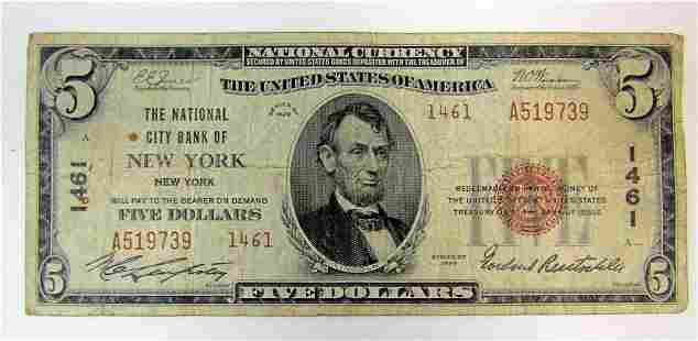 1929 $5 NATIONAL CURRENCY NEW YORK, NY