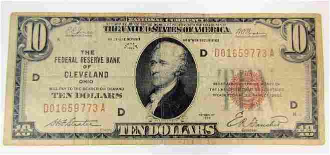 1929 $10 NATIONAL CURRENCY CLEVELAND OHIO