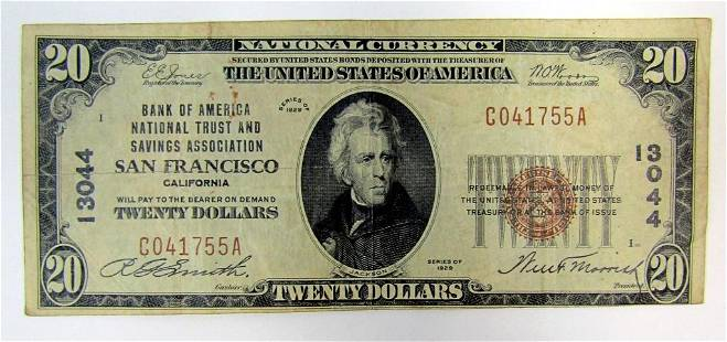 1929 $20 NATIONAL CURRENCY SAN FRANCISCO CA