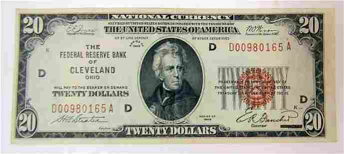 1929 $20 NATIONAL CURRENCY CLEVELAND OHIO